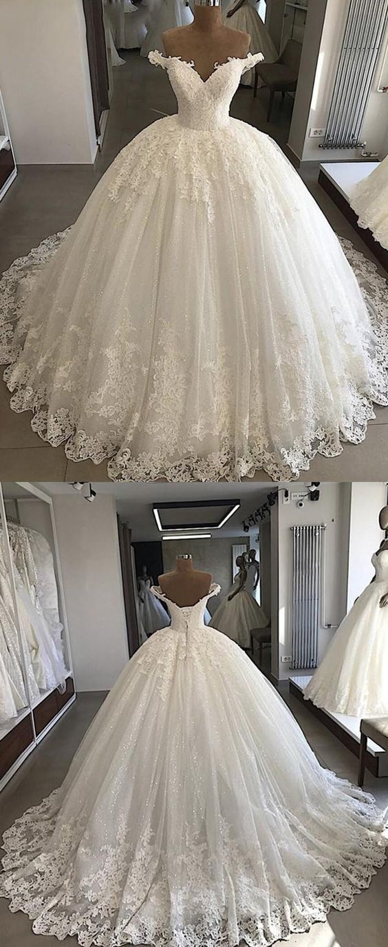 Ball Gown Women Princess Wedding Bridal Dresses Off the Shoulder Gown by MeetBea…