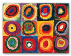 I love TpT! Kandinsky Squares With Concentric Circles Canvas Painting | Modern Canvas Art