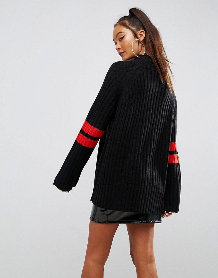 ASOS Tunic Sweater with Contrast Sports Stripe - Black