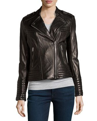 Quilted Asymmetric Leather Moto Jacket, Black by MICHAEL Michael Kors at Neiman Marcus Last Call.