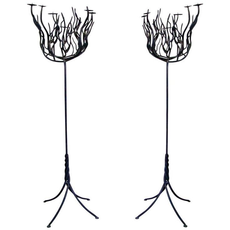 Pair of Art Deco Tree Shaped Wrought Iron Candle Holders Torchieres