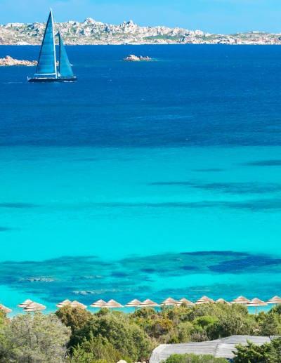 The view of the bright, blue sea from the Romazzino, Costa Smeralda -- Photograph by Tiziano Canu    www.visitcostasmeralda.it    www.facebook.com/visitcostasmeralda