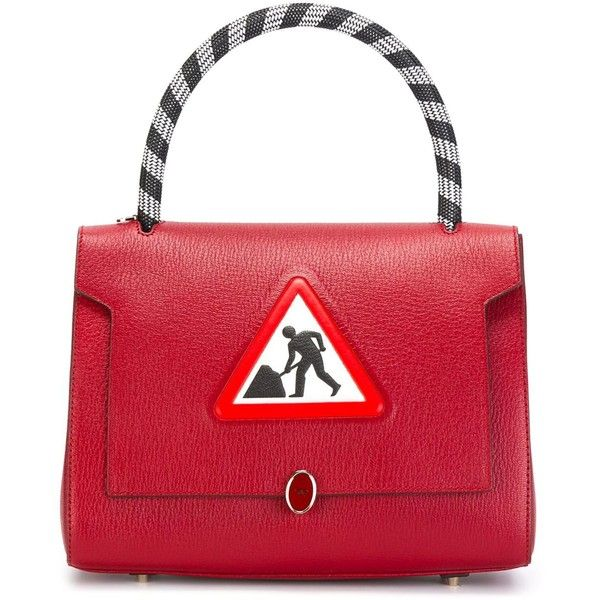 Anya Hindmarch Small Men at Work Bathurst Bag ($1,102) ❤ liked on Polyvore featuring bags, handbags, red, red handbags, anya hindmarch purse, anya hindmarch, anya hindmarch bags and anya hindmarch handbags