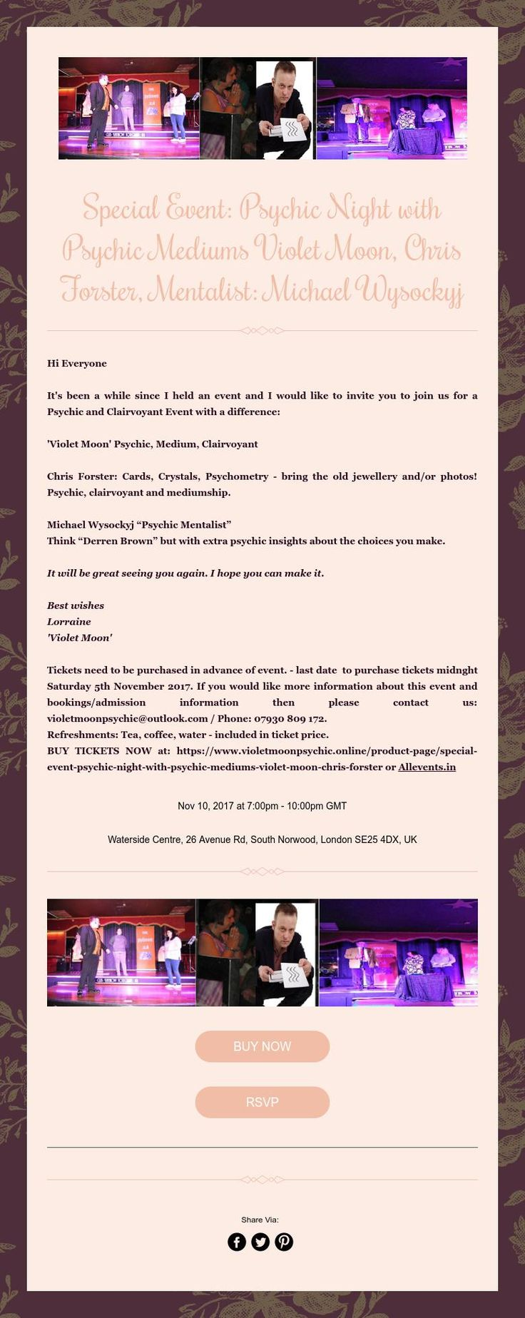 Special Event: Psychic Night with Psychic Mediums Violet Moon, Chris Forster, Mentalist: Michael Wysockyj