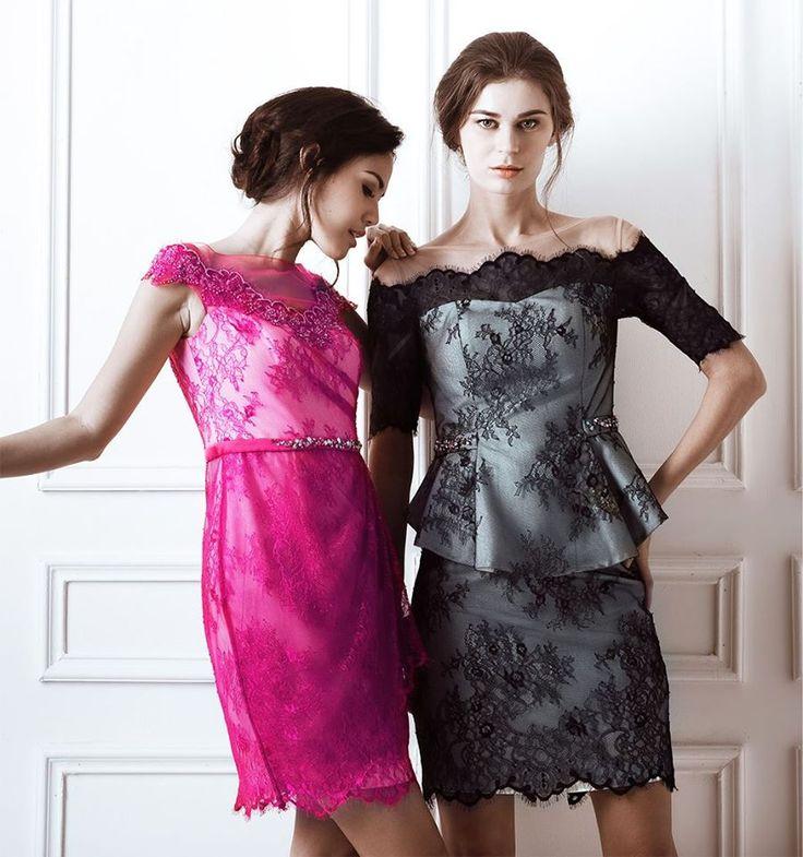 Fuschia Chrissy and Black Andrea Dress
