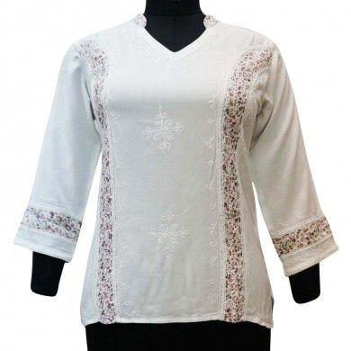 Ethnic Women White Tunic Top Boho Long Slevees Embroidered Shirt Sz M Buy2flaunt