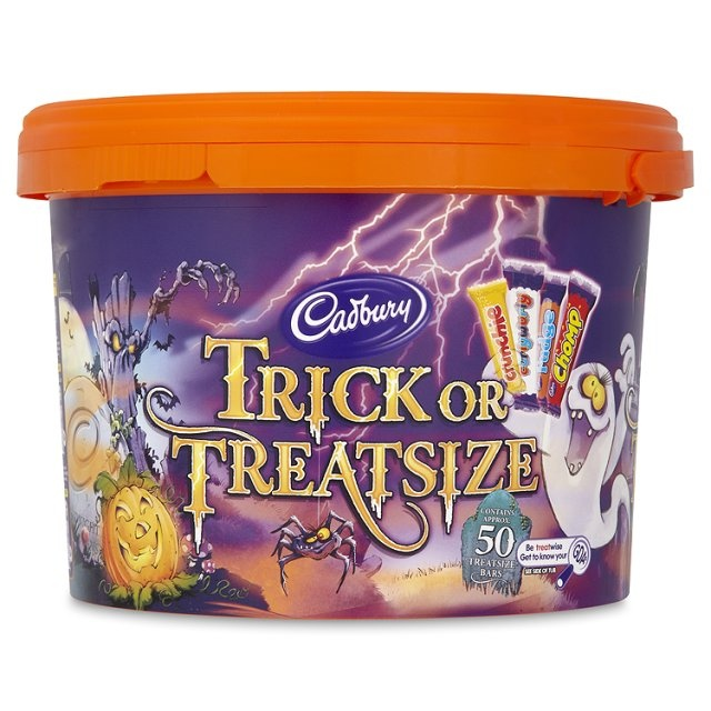 Cadbury Trick or Treatsize tub. Perfect for trick-or-treaters.