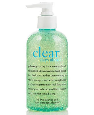 """Philosophy """"Clear Days Ahead"""" acne cleanser. Started with the entire line of products and narrowed it down to this one amazing face wash. Gentle enough for my super sensitive skin."""
