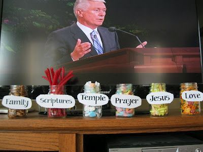 Helping kids listen, love it. Every time the kids hear the speaker say one of these words they can grab a piece of candy out of huge jar!