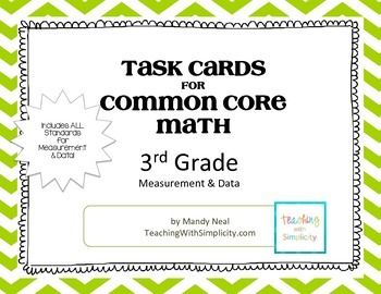 The Number and Operations in Fractions Task Cards for Common Core Math contains 6 sets of 24 multiple choice cards for a total of 144 task cards, which specifically targets CCSS 3.MD. Each card is labeled with the standards being addressed for easy organization.In addition to cards an answer sheet is provided along with a recording sheet for students.Three cooperative learning strategies are also provided.Task Cards are provided in color and also black and white for your printing…