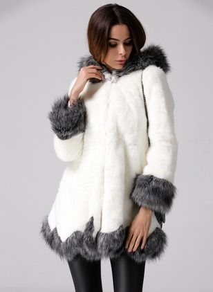 Faux Fur Polyester White Short Long Sleeve Lapel Coats & Jackets (1029196) @ floryday.com