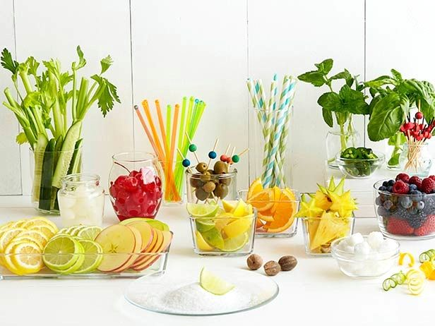Great Garnishes : Cut up slices or wedges of lemons and limes before the party, and have fun with inventive garnishes: celery, pickles, lemon slices, lime slices, apple slices or cocktail onions for a Gibson