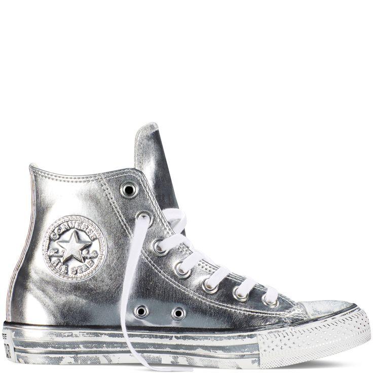 Chuck Taylor All Star Chrome Leather Silver/White/Black silver/white/black