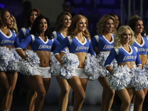 Redskins vs. Lions;   -   October 23, 2016  -  20-17, Lions  -     Detroit Lions cheerleaders perform during the game against the Washington Redskins Sunday, October 23, 2016 at Ford Field in Detroit.  Kirthmon F. Dozier, DFP