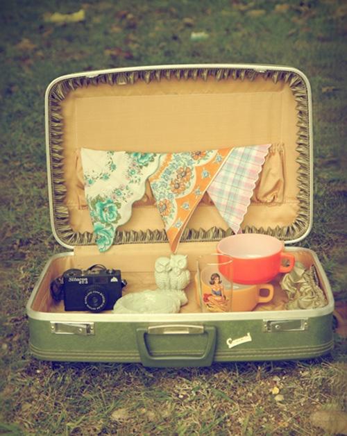 pretty floral handkerchief, suitcase, old camera, owls