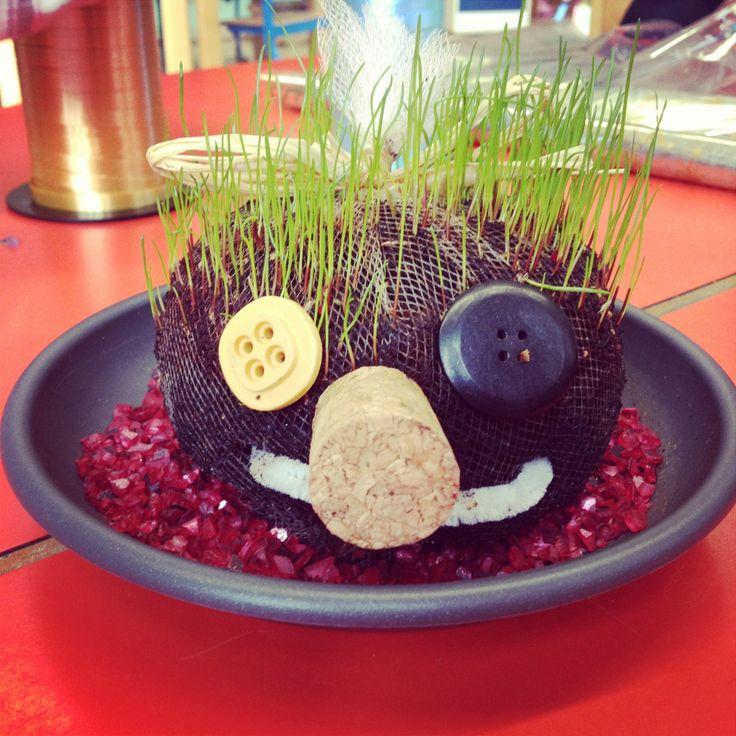 Fete des Peres ! Bonhomme avec des cheveux d'herbe :)