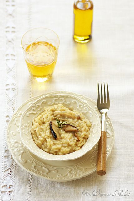 Un dejeuner de soleil: Risotto aux cèpes, pomme et huile de truffe - Riso...