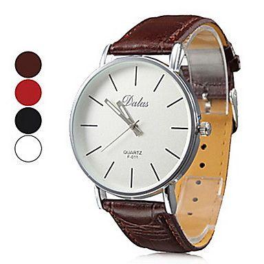 Unisex Simple White Dial PU Band Analog Quartz Wrist Watch (Assorted Colors) – USD $ 3.95