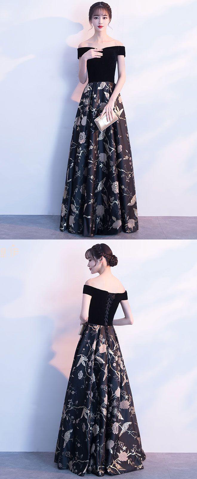 6bb67e34b7 Black off shoulder floral pattern long prom dress, evening dress in ...