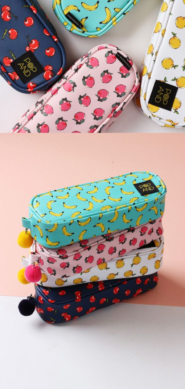 Peaches, cherries, bananas, and lemons bring a fun pop of color to the POPAND Pom Pom Pouch. The spacious interior makes it perfect for your pens, makeup, and craft supplies!