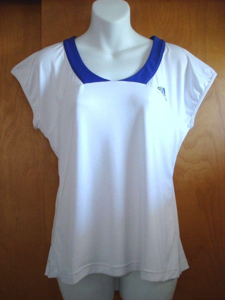 NEW Adidas Women's Tennis Shirt White w/Blue Cap Sleeves NWT Medium #adidas
