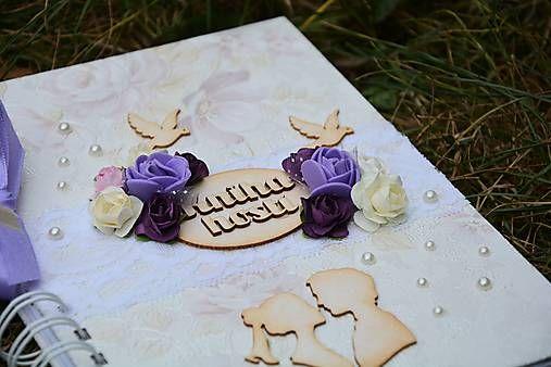 Svadobná kniha hostí - Love is miracle - fialová - svadba - wedding - guesst book - scrapbook album - handmade