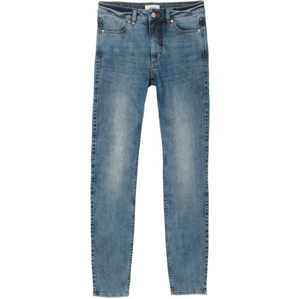 Monki Mocki blue (33 BRL) ❤ liked on Polyvore featuring jeans, monki, pants, jeans / pants / leggings, trousers, mid blue wash, slim stretch jeans, stretch jeans, slim jeans and slim leg jeans
