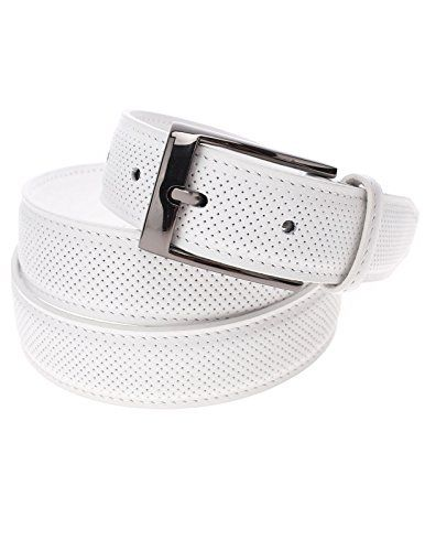 FLATSEVEN Mens Perforated Genuine Leather Belt with Rectangular Metal Buckle (Y405), White  #FLATSEVEN #Men #clothing #fashion #outfits #belts #accessories