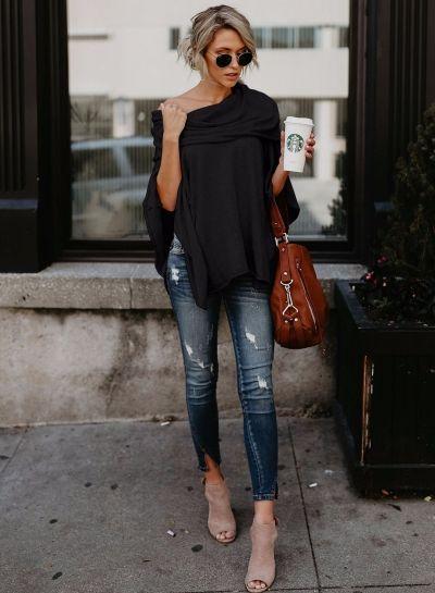 Fashion Off Shoulder Slit Irregular Loose Fit Tee novashe.com