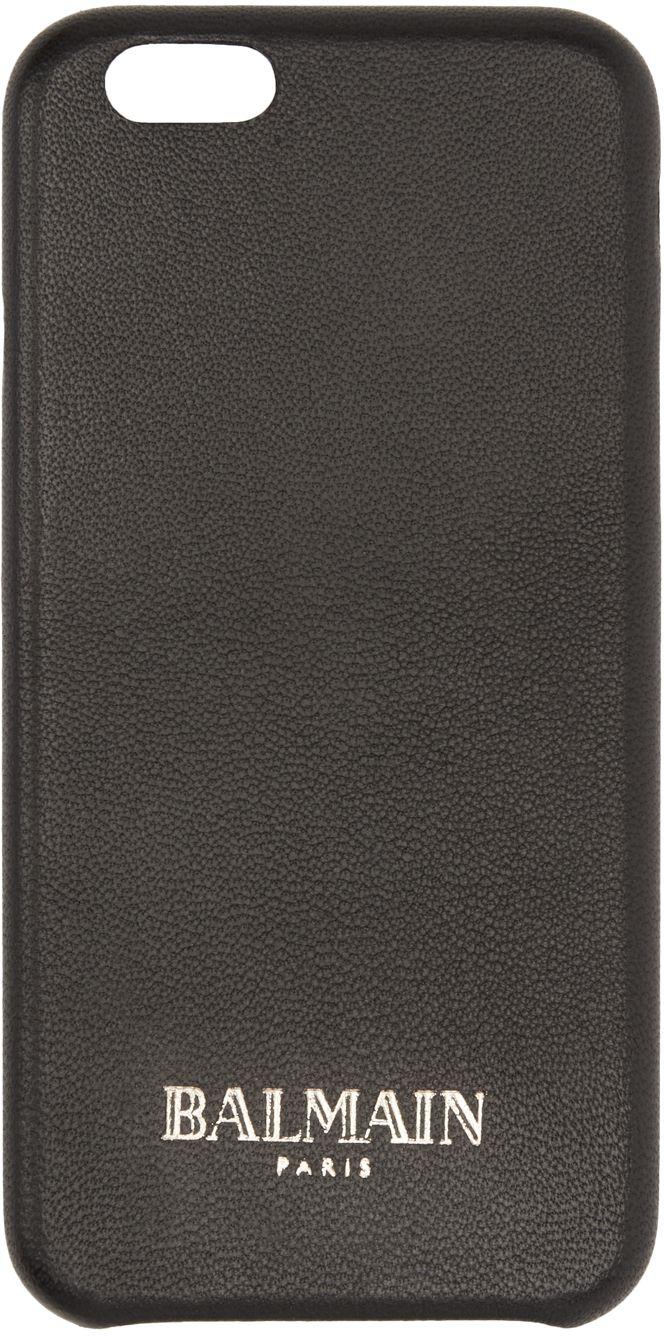 Balmain: Étui pour iPhone 6 en cuir noir | SSENSE
