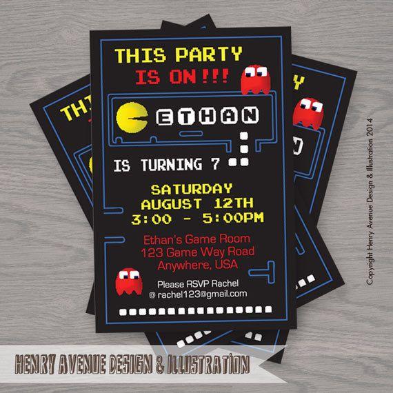 PacMan Birthday PRINTABLE DIGITAL Invitation by Artnv on Etsy, $12.00