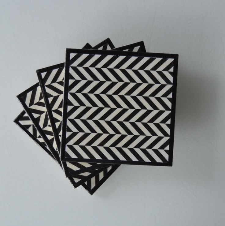"""Hand-crafted Ceramic Tile Coasters - """"Geometric"""" by RiverOakFive on Etsy"""