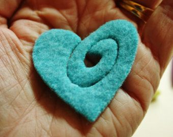 """Heart brooch kit....  48"""" of brass zipper and sweater felt .. no instructions included in this order...supplies only."""