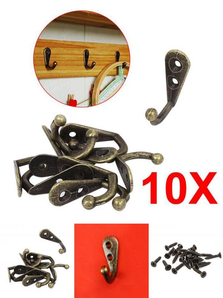 [Visit to Buy] 10pcs Home Hooks Bronze Vintage Style Wall Mounted Single Hook Hangers Storage Organizer Wall Mount #Advertisement