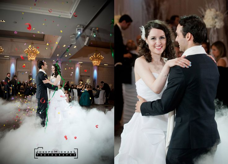 Hazelton Manor Wedding Photography, bride and groom first dance, confetti, smoke machine
