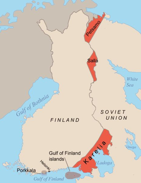 Areas ceded by Finland to the Soviet Union after the Winter War in 1940 and the Continuation War in 1944. The Porkkala land lease was retur...