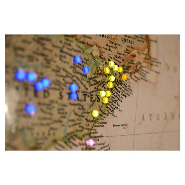 40 best wall of world map images on pinterest world maps good world map with lighted pins to go on the back of the feature stone wall in the family room gumiabroncs Gallery