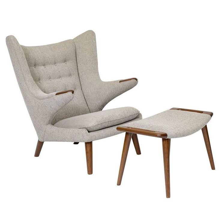 "Hans Wegner ""Papa Bear"" Chair and Footstool 1"