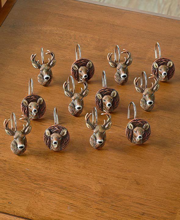 Set of 12 Rustic Cabin DEER SHOWER CURTAIN HOOKS Doe Buck Resin Lodge Bathroom #ebay #rusticbathroom #deershowercurtain