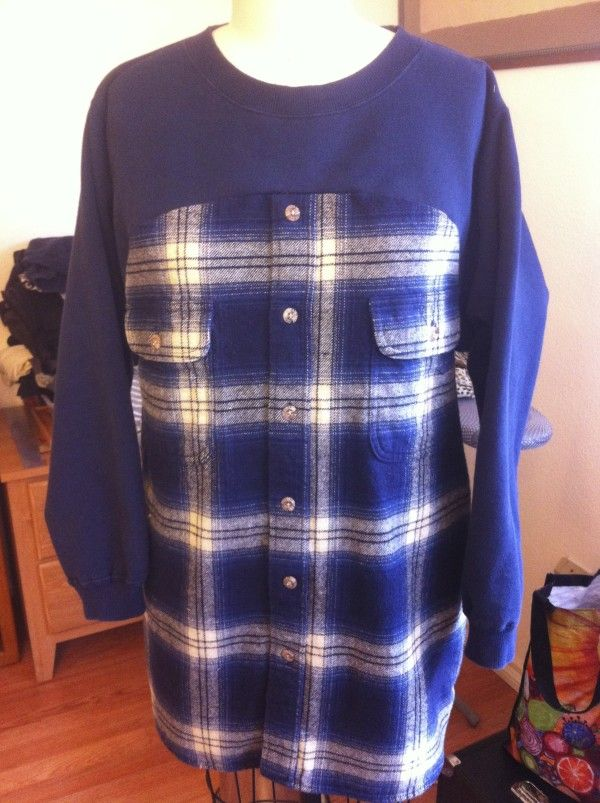 Flannel shirt + sweatshirt = flannshirt tunic. SO MANY brilliant clothing refashions on this blog!