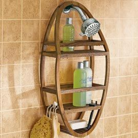 This teak shower caddy may be the ultimate non-rusting caddy available.