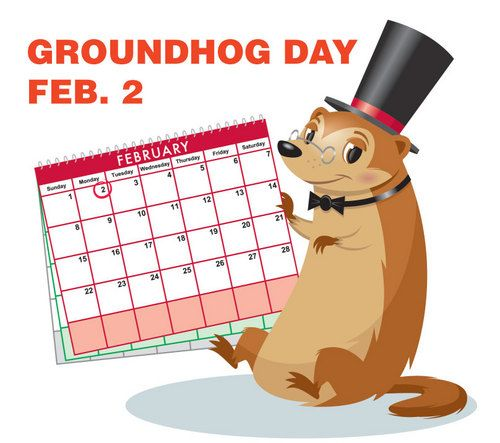 Such a cute Groundhog Day graphic. #calendar #holidays #groundhogs
