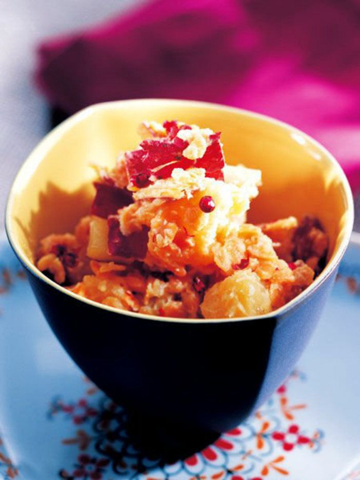 さつまいもとレンズ豆を一緒にゆでて、はちみつとヨーグルトのドレッシングで和えるだけ。 『ELLE gourmet(エル・グルメ)』はおしゃれで簡単なレシピが満載!