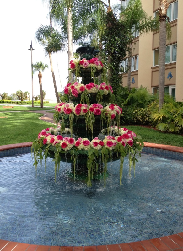 Fountain at Safety Harbor Resort and Spa by www.events-in-bloom.com