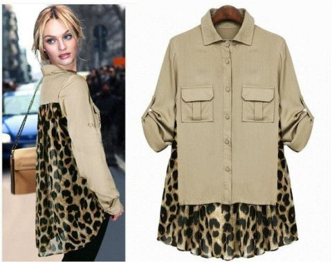 Asym Chiffon Leopard Long Sleeve Shirt Blouse