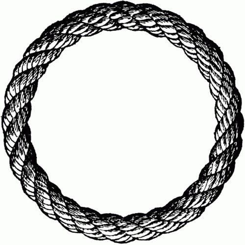Black and white pen sketched rope ring
