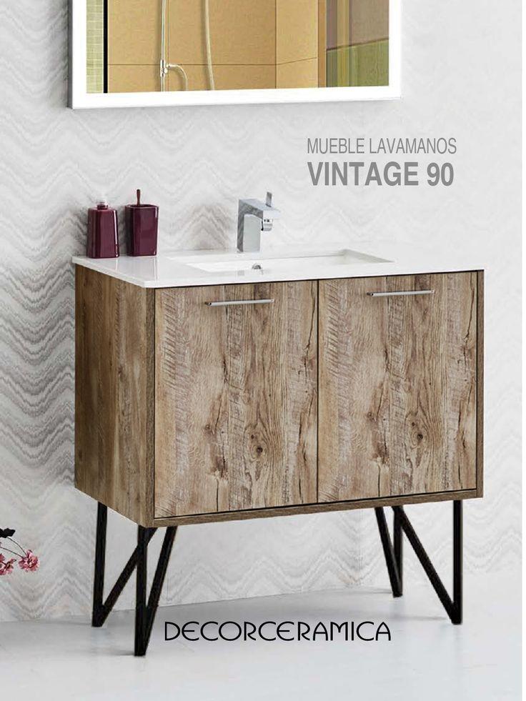 El diseño vintage y la comodidad de este mueble lavamanos compacto es lo que necesitas para renovar tus baños. Dale una mirada.    #vintage #bañosvintage #bañosmodernos #bañospequeños #diseñodebaños #mueblelavamanos #lavamanos #baños #decorceramica