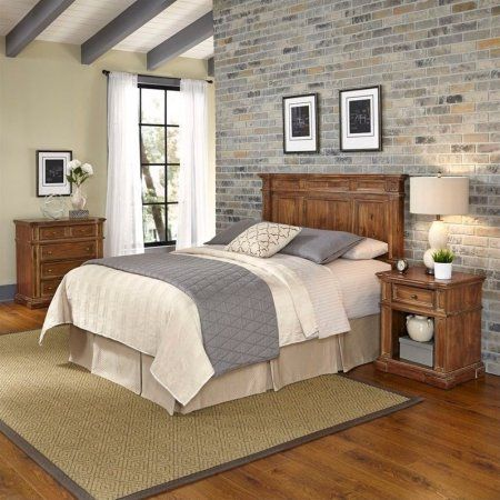 Home Styles Americana Vintage King/California King Headboard, Night Stand and Chest, Beige