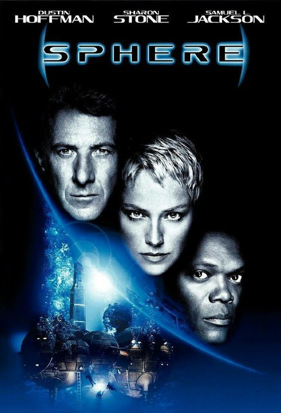 Sphere (1998) is a horror adventure movie from Barry Levinson, starring Sharon Stone, Dustin Hoffman, Samuel L. Jackson, Peter Coyote, Queen Latifah, and Liev Schreiber. Based on the novel Sphere by Michael Chrichton. Themes: spaceship on the bottom of the ocean, terror, subconscious fears, the navy, deepsea habitats, mysterious manifestations, Mare Island Naval Yard