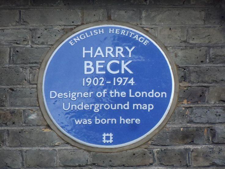 Harry Beck. Diseñador del mapa del metro londinense. 14 Wesley Road Leyton E10 6JF.  Photo by Spudgun67.
